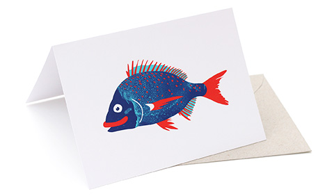 'Bream on white' greeting card