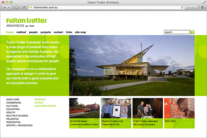 Fulton Trotter Architects website home page
