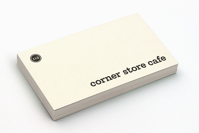 Corner Store Cafe business cards