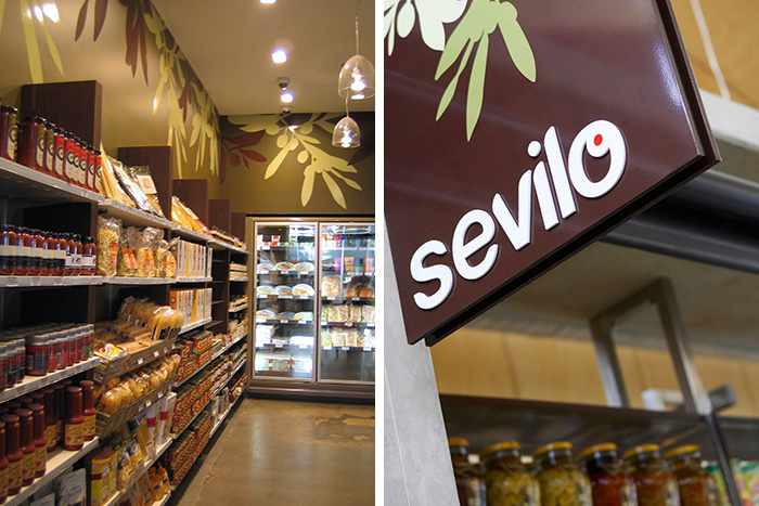 Sevilo Gourmet Delicatessen shingle sign